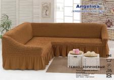 Чехол для мягкой мебели (на угловой диван) (диз.: 209 темно-коричневый)